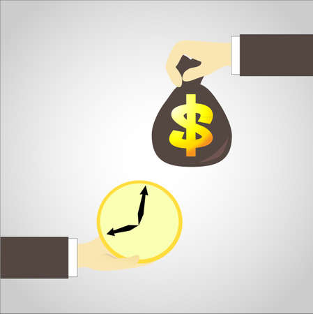 time sharing: time in Business man hand exchange money