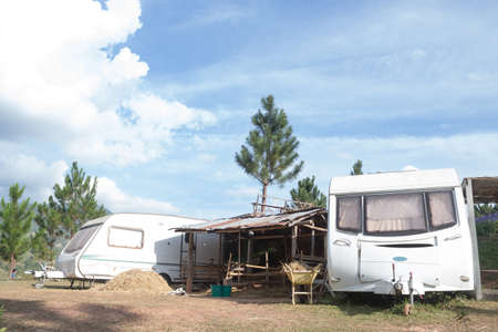 camping site: mobile home van car on camping site Stock Photo