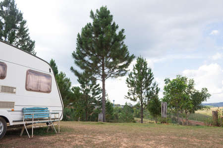 mobile home van car on camping site Stock Photo