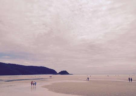 mujer mirando el horizonte: tono sepia soledad, la puesta de sol en la playa