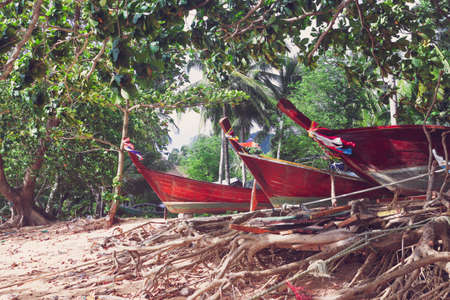 longtail: wrecked wooden long-tail boat