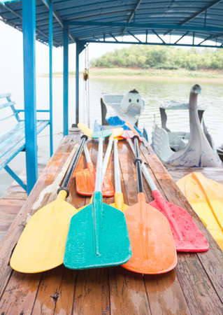 paddles: set of colorful oar and paddles of kayak and canoe sport