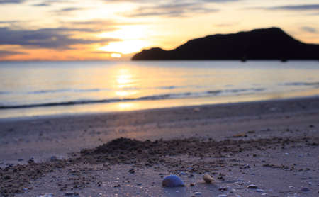 clearly: morning clearly yellow warm sunset shells and sea splash wave water surface Stock Photo