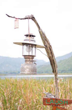 Pressure paraffin storm Lamp lantern Stock Photo