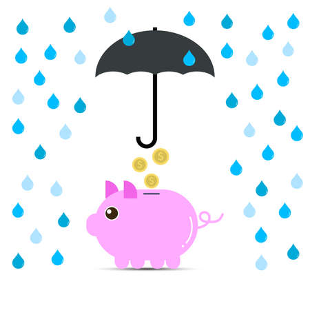 saving for raining day concept with piggy bank and umbrella protection