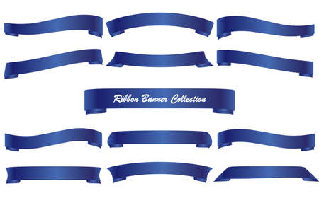 Vector design set of Blue ribbon collection isolated Illustration