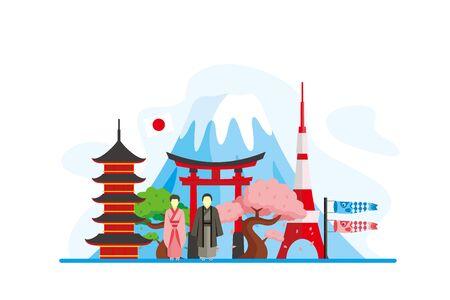 Japan Famous Landmarks Travel Flat Concept Vector Illustration, Suitable for Background, Banner, Wallpaper, Advertising Illustration