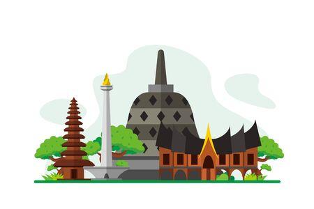 Indonesia Famous Landmarks Travel Flat Concept Vector Illustration, Suitable for Background, Banner, Wallpaper, Advertising Illustration