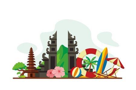 Bali Tropical Island Landmarks Travel Flat Concept Vector Illustration, Suitable for Background, Banner, Wallpaper, Advertising Illustration