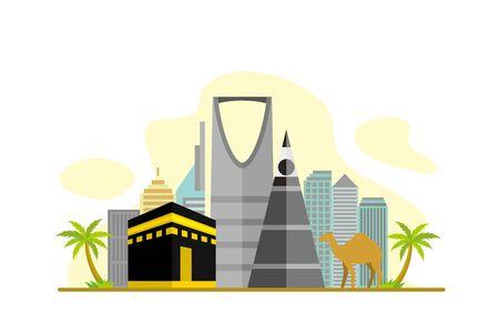 Saudi Arabia Famous Landmarks Travel Flat Concept Vector Illustration, Suitable for Background, Banner, Wallpaper, Advertising Illustration