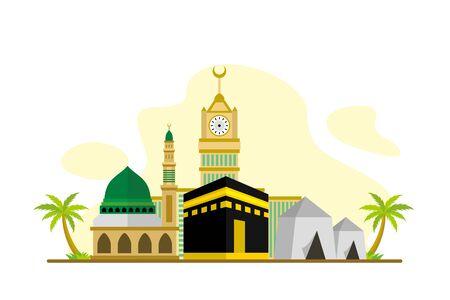 Hajj and Umrah Season Flat Concept Vector Illustration, Suitable for Background, Banner, Wallpaper, Advertising Illustration