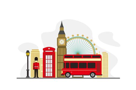 London United Kingdom Famous Landmarks Travel Flat Concept Vector Illustration, Suitable for Background, Banner, Wallpaper, Advertising Illustration