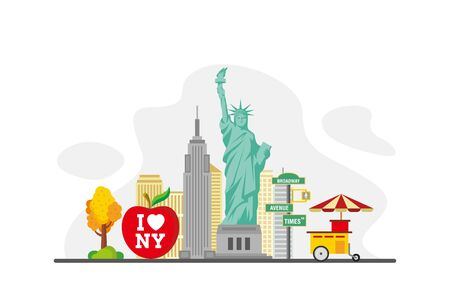 New York Famous Landmarks Travel Flat Concept Vector Illustration, Suitable for Background, Banner, Wallpaper, Advertising Illustration