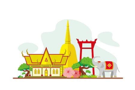 Thailand Famous Landmarks Travel Flat Concept Vector Illustration, Suitable for Background, Banner, Wallpaper, Advertising Illustration  イラスト・ベクター素材