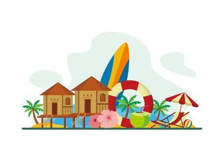Maldives Tropical Island Travel Flat Concept Vector Illustration, Suitable for Background, Banner, Wallpaper, Advertising Illustration