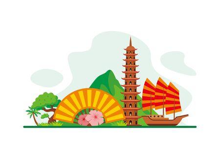 Vieatnam Landmarks Travel Flat Concept Vector Illustration, Suitable for Background, Banner, Wallpaper, Advertising Illustration