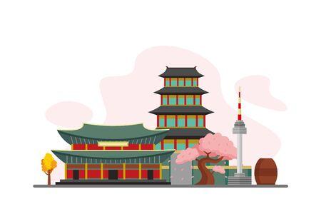 South korea Famous Landmarks Travel Flat Concept Vector Illustration, Suitable for Background, Banner, Wallpaper, Advertising Illustration