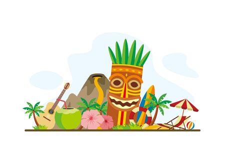 Hawaii Tropical Island Landmarks Travel Flat Concept Vector Illustration, Suitable for Background, Banner, Wallpaper, Advertising Illustration  イラスト・ベクター素材