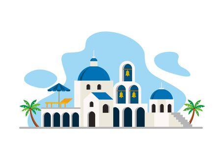 Santorini Aegean sea Island Landmarks Travel Flat Concept Vector Illustration, Suitable for Background, Banner, Wallpaper, Advertising Illustration