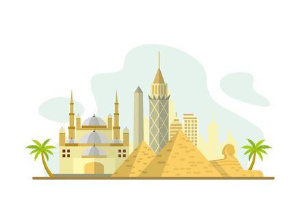 Egypt Famous Landmarks Travel Flat Concept Vector Illustration, Suitable for Background, Banner, Wallpaper, Advertising Illustration 版權商用圖片 - 129793643