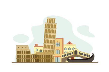 Italy Famous Landmarks Travel Flat Concept Vector Illustration, Suitable for Background, Banner, Wallpaper, Advertising Illustration  イラスト・ベクター素材