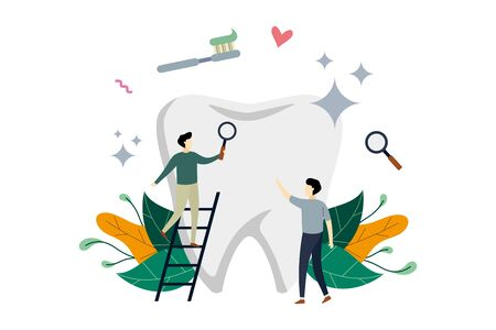 Healthcare, dental cleaning treatment, dental medicine with small people concept vector flat illustration, suitable for background, banner, landing page, advertising illustration 일러스트
