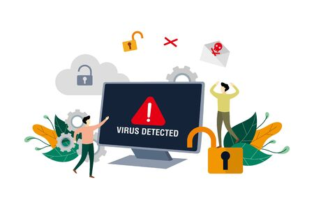 Alert message of virus detected, identifying computer virus, hacking security with small people concept vector flat illustration, suitable for background, landing page, ui, ux