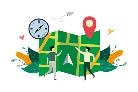 GPS navigation system, location on the city map flat illustration with small people concept vector template, suitable for background, landing page, ui, ux, advertising illustration Illustration