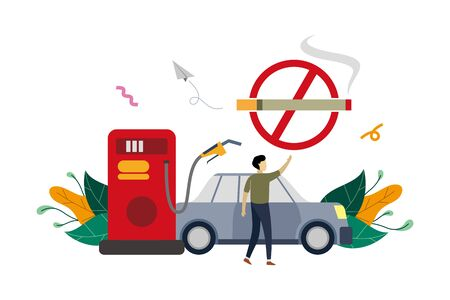 No smoking warning at gas station, petroleum station flat illustration with small people concept vector template, suitable for background, ui, ux, banner, landing page Çizim