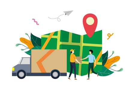 Online logistic delivery service, order tracking flat illustration with small people concept vector template, suitable for background, ui, ux, advertising illustration