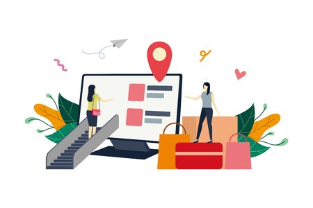 Online shop on computer screen, ecommerce market flat illustration with small people concept vector template, suitable for background, ui, ux, advertising illustration Illustration