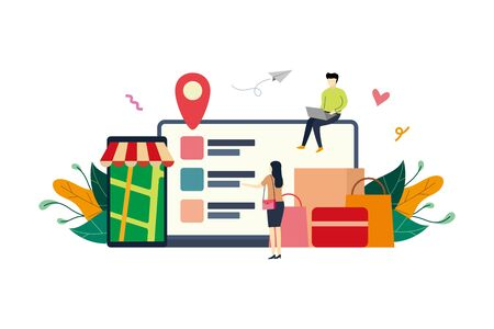 Online shopping, ecommerce market flat illustration with small people concept vector template, suitable for background, ui, ux, advertising illustration Illustration