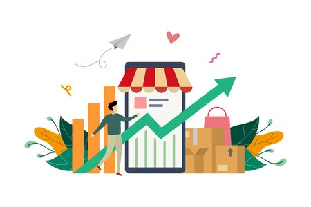 e-store profit, online shop growth. E-marketing income with small Successful businessman concept vector flat illustration, suitable for background, landing page, advertising illustration