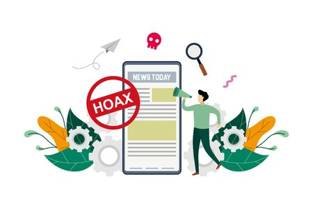 Hoax, fake news, disinformation spread via online media, news websites concept with small people and large phone vector flat illustration, suitable for background, advertising illustration 向量圖像