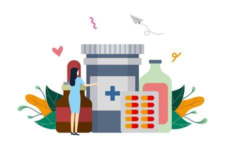 Medication, various type of medical medicine, drug store concept vector flat illustration template, suitable for background, banner, landing page, advertising illustration