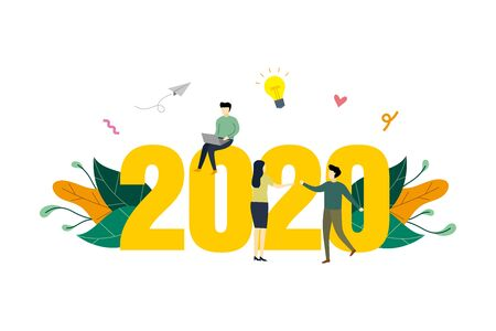 2020 plan concept illustration, work project, time management, scheduling, opportunities of year, work to reach success flat design. for background, landing page, advertising illustration