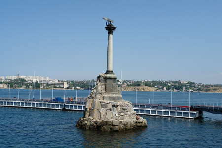 Sevastopol, Crimea, a monument to the scuttled ships. Black Sea.