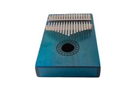 Kalimba, blue wooden african ethnic instrument isolated on white background.