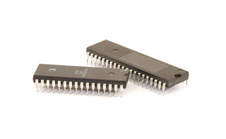 microprocesadores: microprocesadores y chips de ordenador aislado Foto de archivo