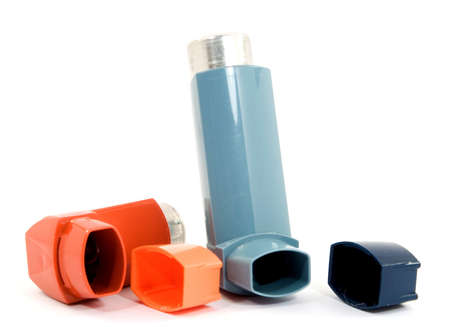 treating: medicine spray for treating asthma isolated