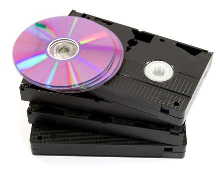 vhs videotape: digital data storage media studio isolated Stock Photo