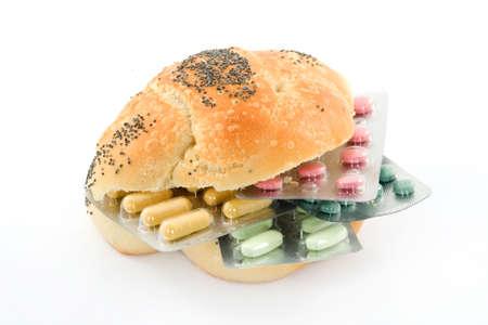 pharmaceutic: sandwich with pills representing health theme studio isolated Stock Photo