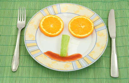 breakfast smiley face: diet healthy food studio isolated Stock Photo
