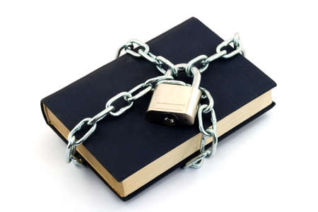 book locked with padlock and chains Stock Photo - 2812442