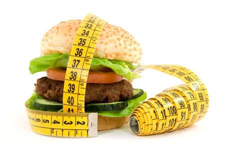 hamburger with meter diet concept