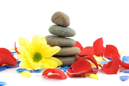 zen stones with flowers studio isolated photo