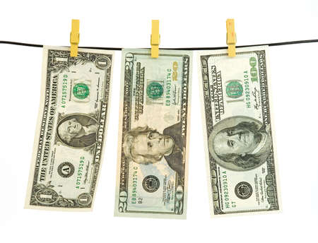 us dollar money hanging over string Stock Photo - 2819766