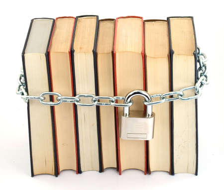 books chained and locked with padlock photo