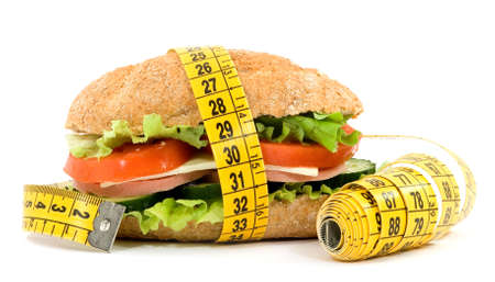 diet sandwich and meter studio isolated Stock Photo - 2825347