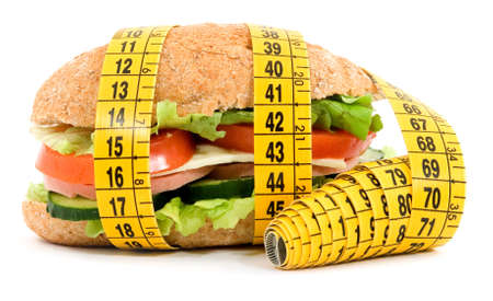 diet sandwich and meter studio isolated photo